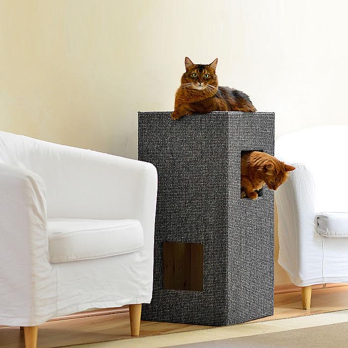 kratzbaum online shop kratzbaum convenient i gebeizt mit lederecken. Black Bedroom Furniture Sets. Home Design Ideas