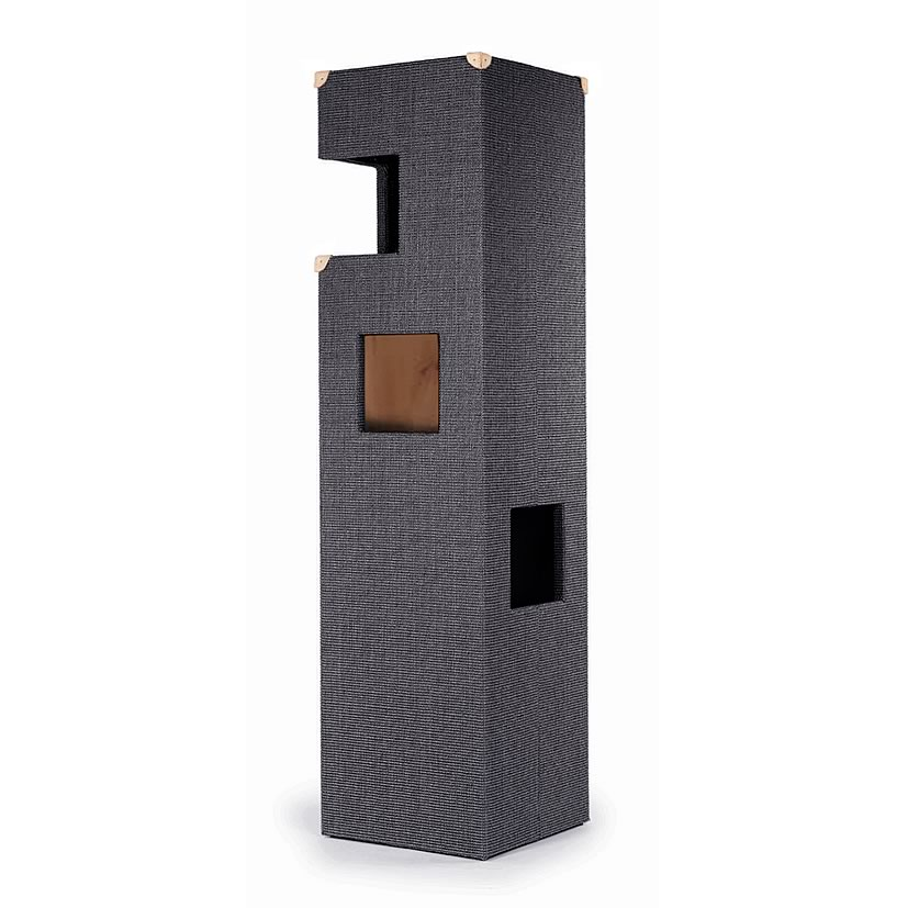 kratzbaum online shop kratzbaum dome anthrazit natur mit lederecken. Black Bedroom Furniture Sets. Home Design Ideas