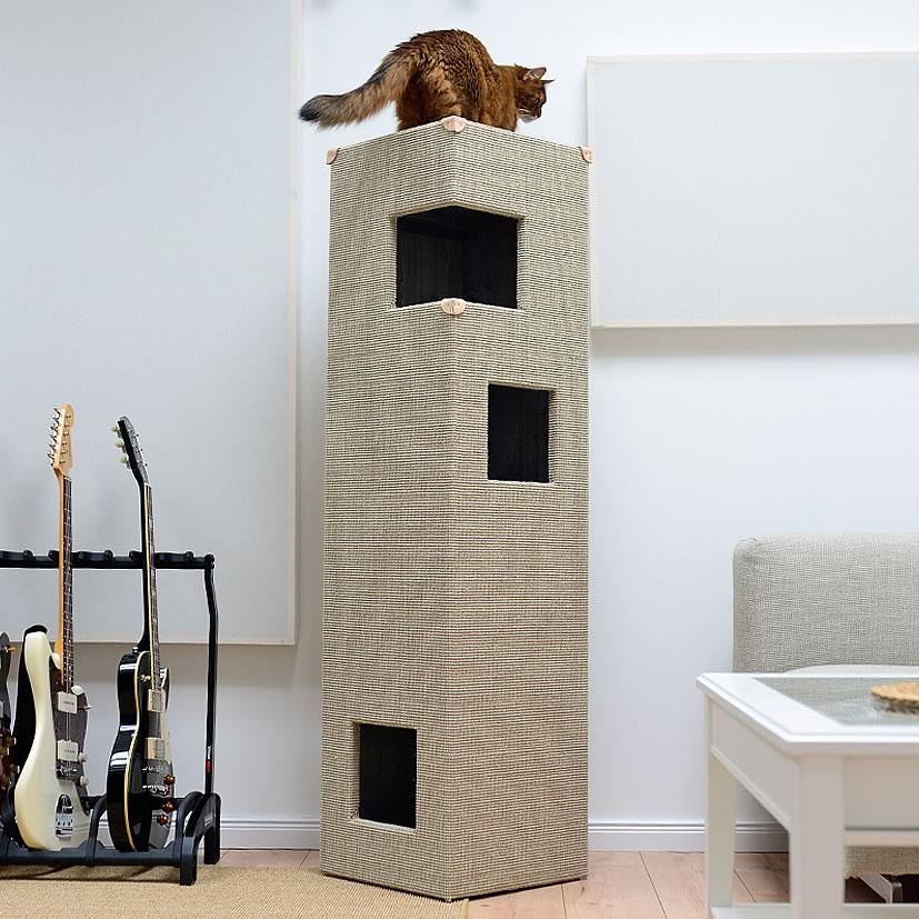 kratzbaum online shop kratzbaum dome hellgrau gebeizt mit lederecken. Black Bedroom Furniture Sets. Home Design Ideas