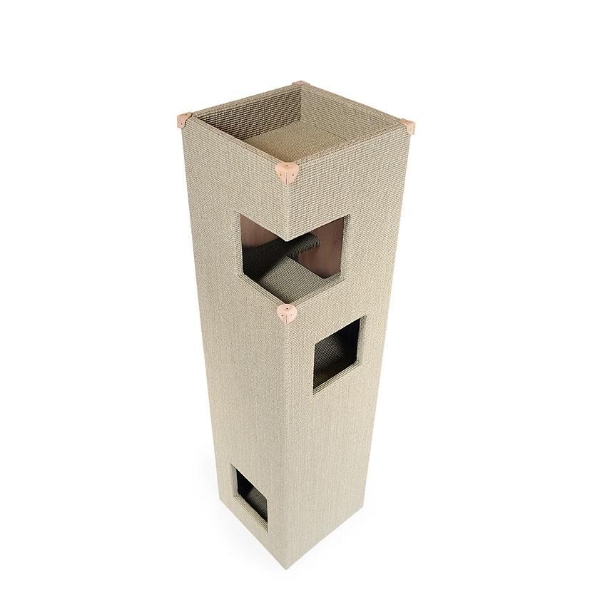 kratzbaum online shop kratzbaum dome hellgrau natur mit lederecken. Black Bedroom Furniture Sets. Home Design Ideas
