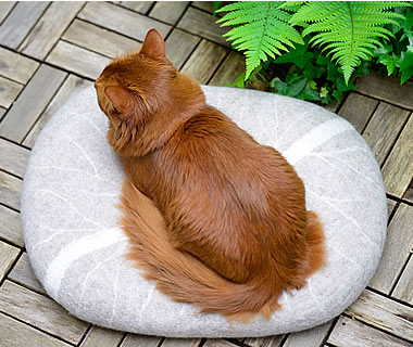 felted Cat Bed, Floor Cushions Stone - More product information